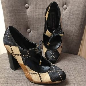 Steven tan/black/brown argyle print heels sz 9